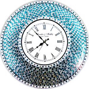 Decorative Wall Clocks by Decorshore 24 Quot Silver And Turquoise Mosaic Decorative Wall