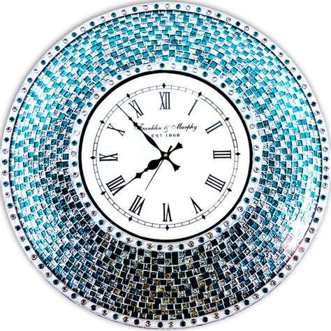 "DecorShore 24"" Silver and Turquoise Mosaic Decorative Wall Mounted Clock   Contemporary   Wall"
