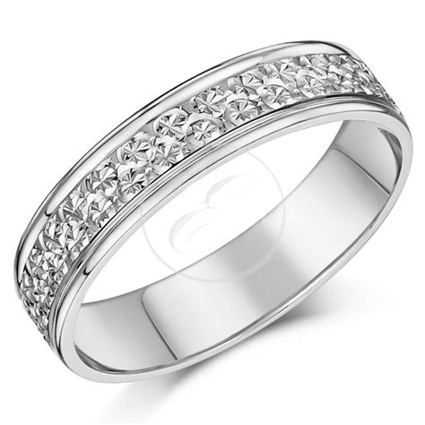9ct white gold ring diamond cut flat wedding ring band 4mm 5mm 6mm 7mm ebay