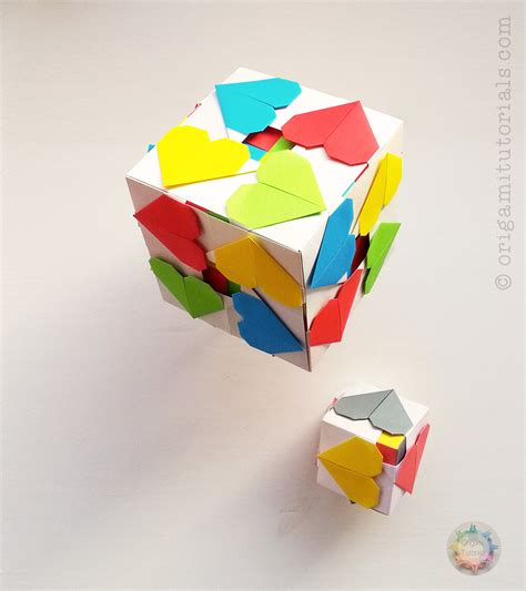 Paper Origami Cube - origami hearty cube origami tutorials
