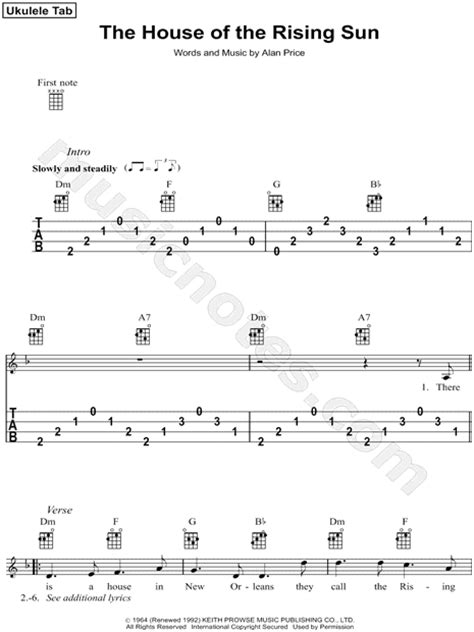 house of the rising sun ukulele chords house of the rising sun guitar sheet music free house of the rising sun tenor