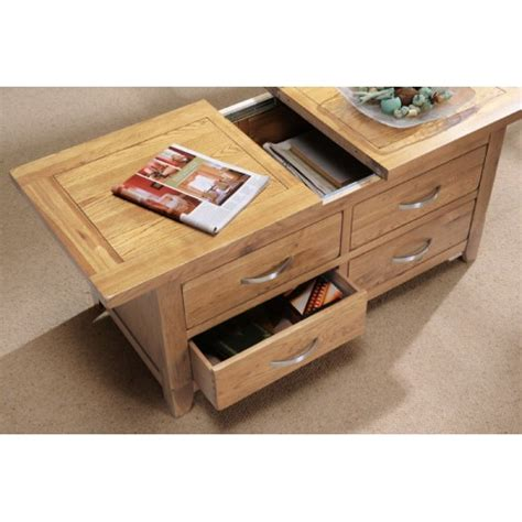 Coffee Tables With Storage Drawers Oakland Storage Coffee Table With Sliding Top And Drawers