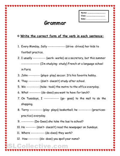 Printable Grammar Worksheets | worksheets grammar worksheets free opossumsoft