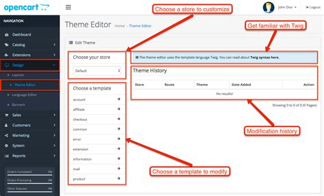 opencart change template image collections templates