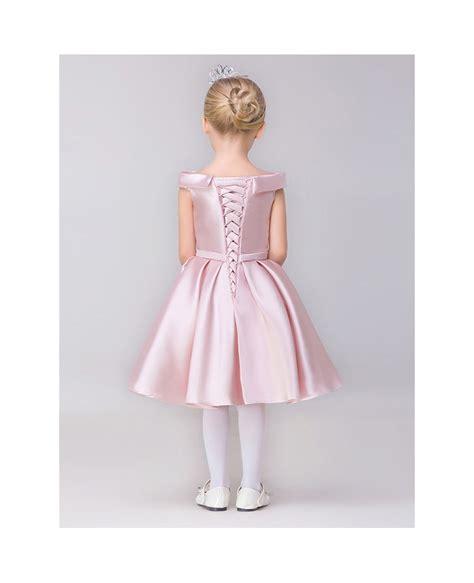 simple lovely pink short satin flower girl dress  cap