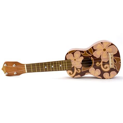 flower design ukulele ukulele hawaiian floral design brown flowers kc hawaii