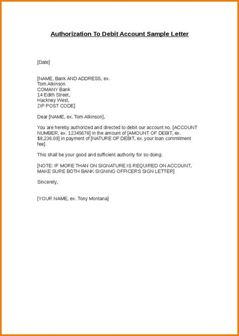 authorization letter format to deposit authorization letter for bank authorization letter pdf