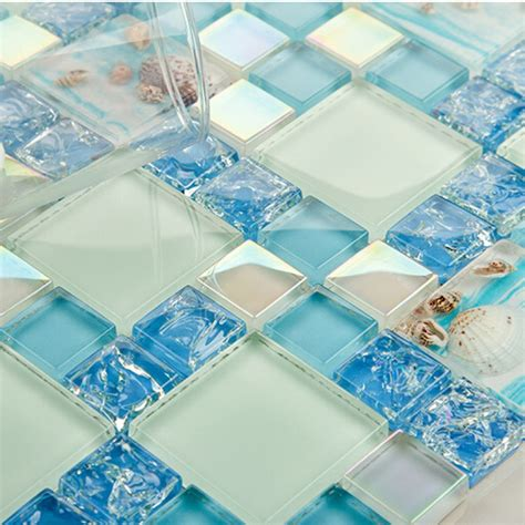 Blue Glass Tile Kitchen Backsplash Blue Glass Mosaic Tile Backsplash Crackle Glass Resin Conch Tiles Bravotti