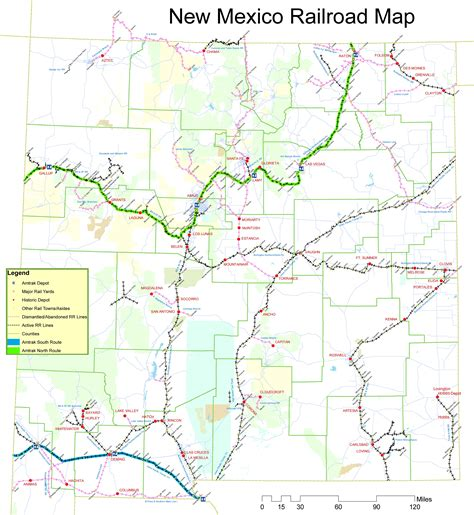 new mexico on map of usa new mexico railroad map