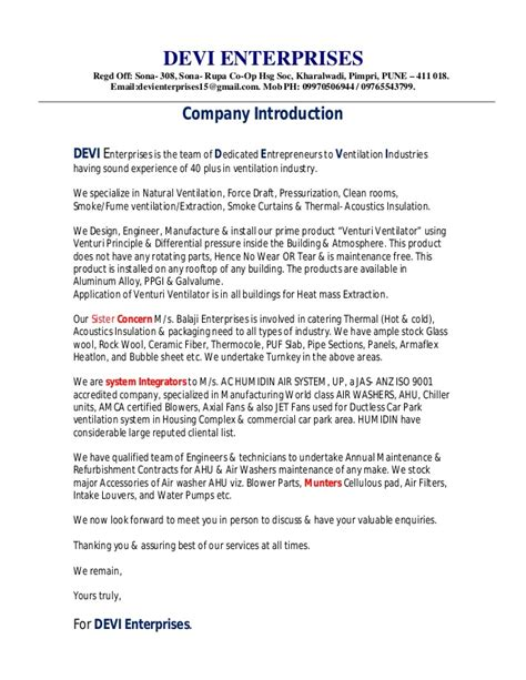 Catering Introduction Letter To A Company 1 Devi Company Profile Letter
