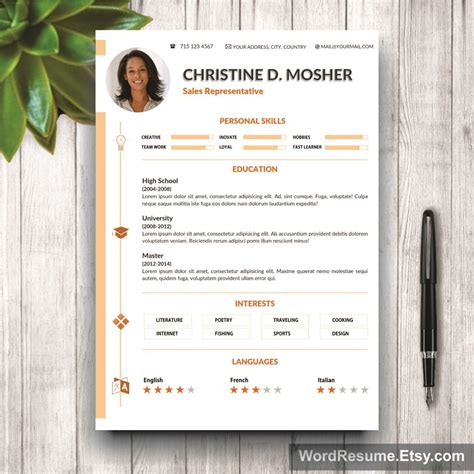 2 page resume template resume template 4 pages cv template cover letter and