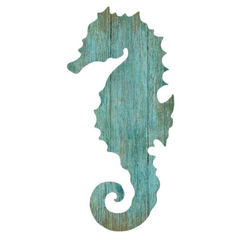 Home Decor Paintings by Seahorse Silhouette Facing Left Wall Art Aqua Beach