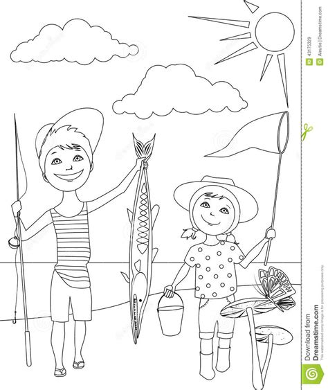 coloring page of little boy fishing summer activities for kids coloring page stock vector