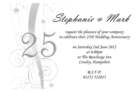 25th birthday invitation templates wedding invitation wording 25th wedding anniversary