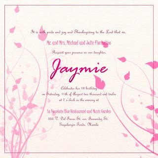 Exle Of Invitation Letter In Debut Invitation Template For Debut Giggle Machine
