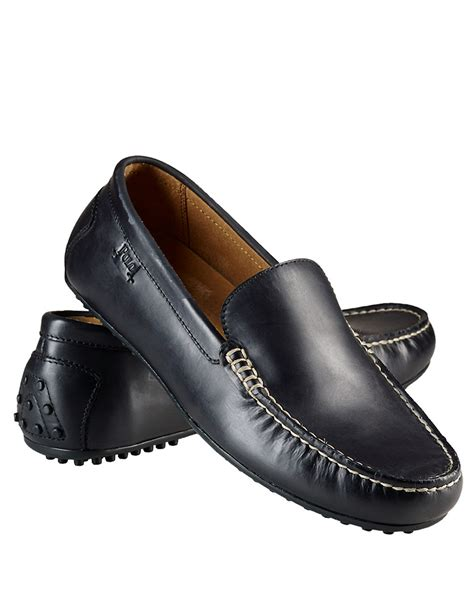 black polo loafers polo ralph woodley leather loafers in black for