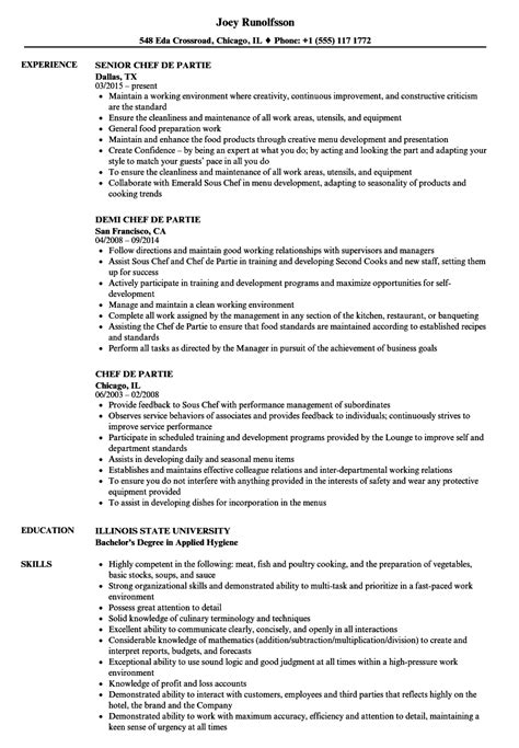 sle of resume for demi chef de partie chef de partie resume sles velvet