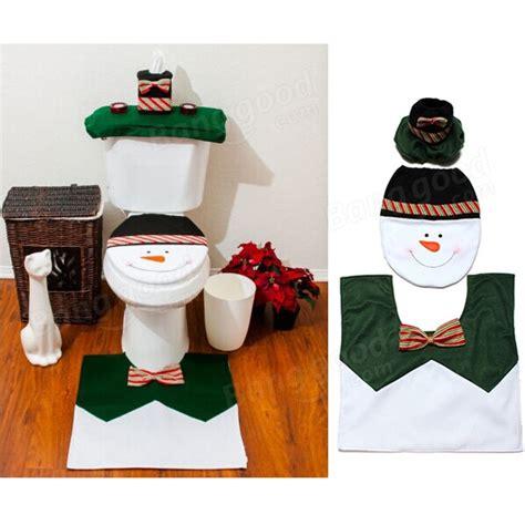 snowman bathroom set christmas decorations snowman toilet seat cover rug
