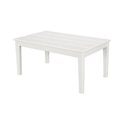 Plastic Coffee Table Polywood Newport 22 In X 36 In Plastic Outdoor Coffee Table Ct2236wh The Home Depot