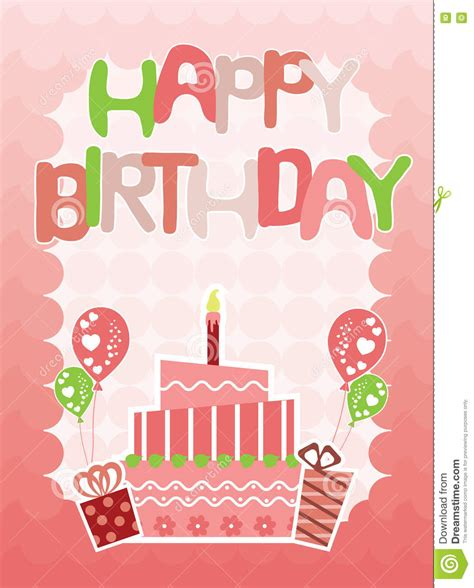 happy green color pink happy birthday card for stock vector image