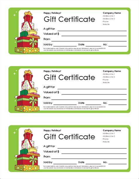 Templates Gift Certificates free gift certificate template and tracking log