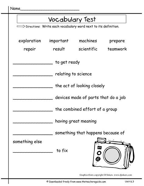 2nd Grade Test Prep Worksheets by Second Grade Vocabulary Test Practice Worksheet Second