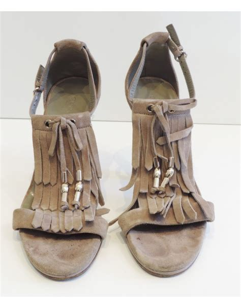 Grey Sandal Payet chaussures talons franges