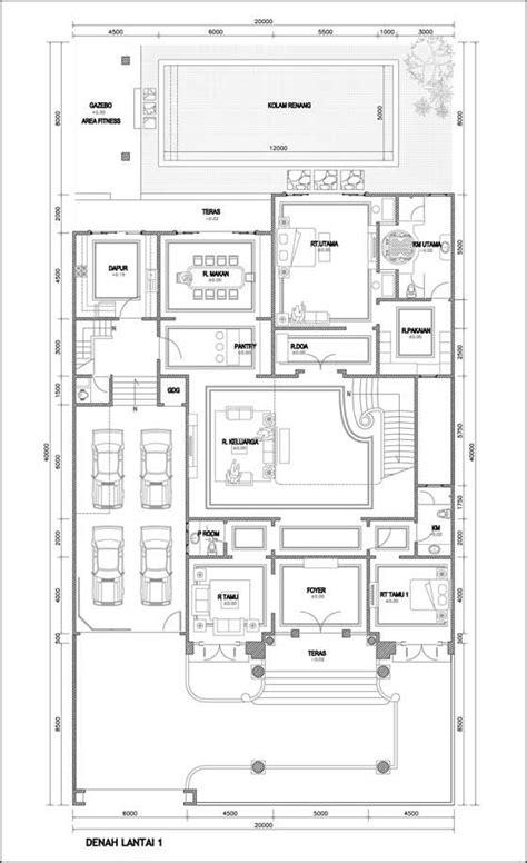 contoh denah rumah mewah  lantai places  visit pinterest house layout  house layouts
