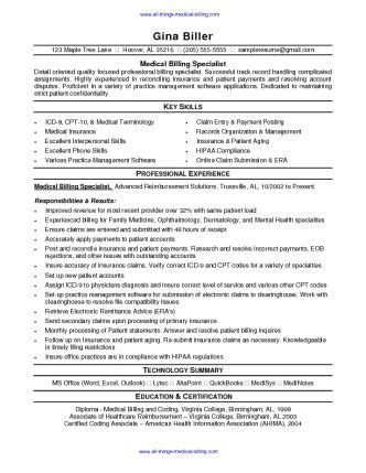 medical billing resume sle sharepdf net resume