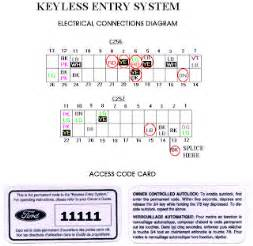 need locate ford keypad entry 5 number door code locate or