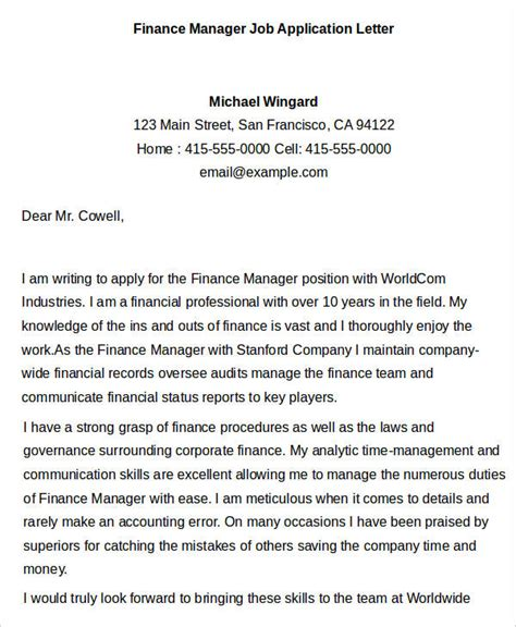 Letter Of Recommendation Finance Internship 40 application letter templates pdf word free
