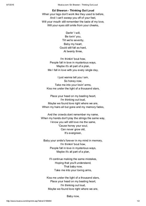 ed sheeran az lyrics lyrics ed sheeran thinking out loud az lyrics