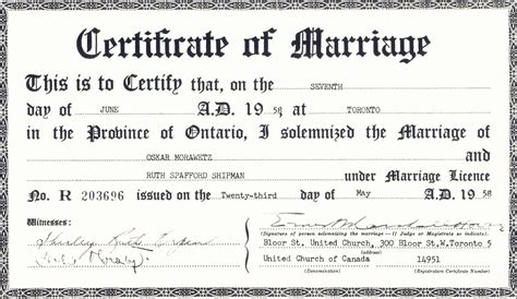 Canadian Marriage Certificate Records Free Official Marriage License Ontario Programs