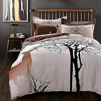 Tree Bedding Set Tree Deer Print Bedding Set Thick Sanding Cotton Bedlinen