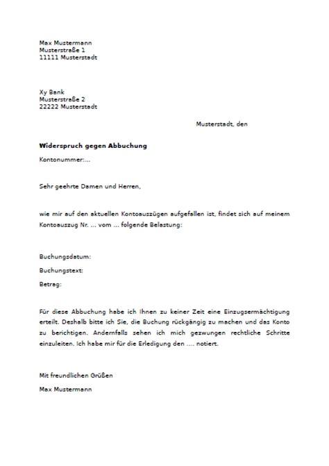 Musterbrief Einspruch Rechnung Widerspruch Gegen Abbuchung Vom Konto Muster Vorlage Zum