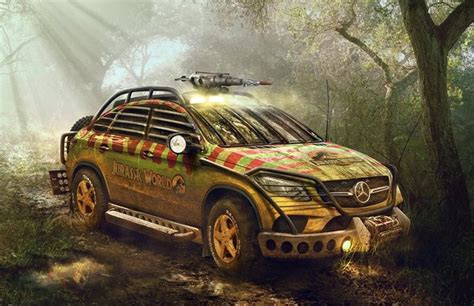 jurassic park car mercedes mercedes gle rendered in jurassic park guise