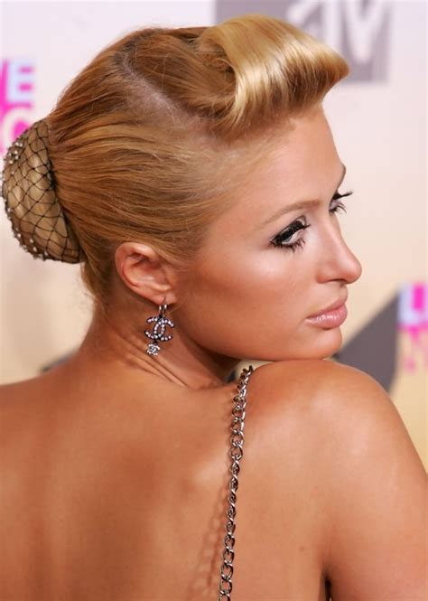 retro hairstyle updo short hair paris hilton sophisticated sleek retro updo hairstyle for