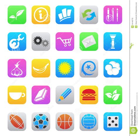 white background app various ios 7 style mobile app icons isolated on a stock
