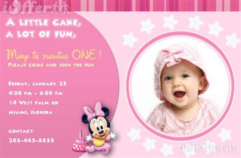 1st Birthday Invitation Card In 1st Birthday Photo Invitations Girl So Pretty