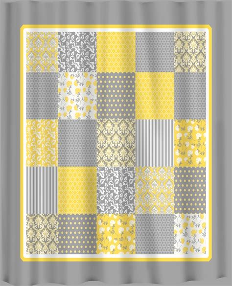 Yellow Gray Shower Curtain by Yellow Curtains Country Patchwork Shower Curtain