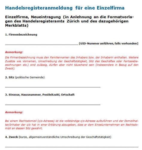 Vorlage Schenkungsvertrag Schweiz Handelsregisteranmeldung Einzelfirma