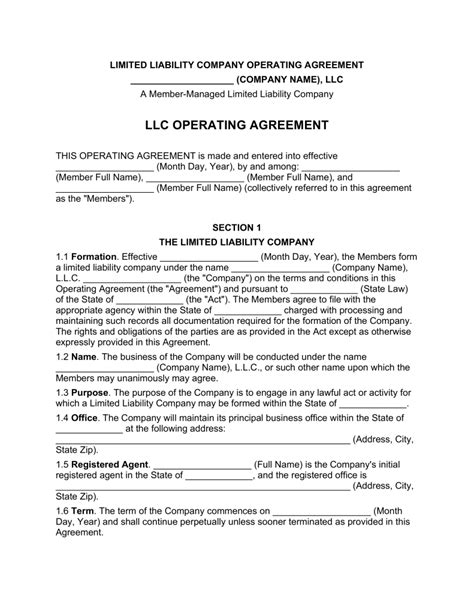 multi member llc operating agreement template eforms