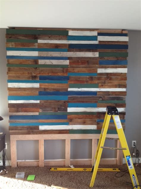 How To Make A Headboard For A Bed remodelaholic colorful and rustic plank headboard wall