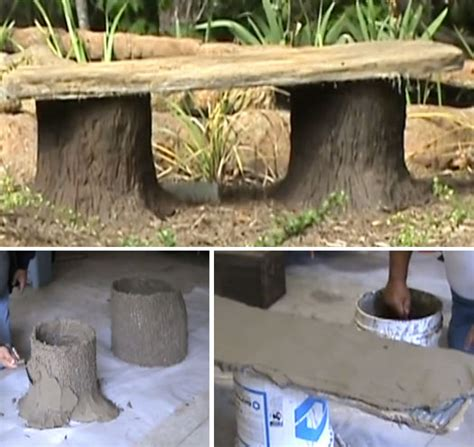 bench made out of tree trunk making a concrete tree stump bench video garden lovers