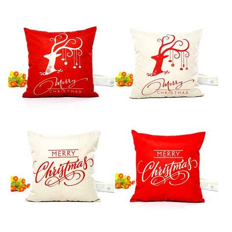 Packaging Decoration Tulisan Merry decorations for home reindeer jute pillow cover merry square linen