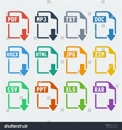 compress pdf zipper vector file extensions icons set pdf stock vector