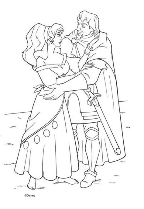 disney esmeralda coloring page esmeralda and phoebus 3 coloring pages hellokids com