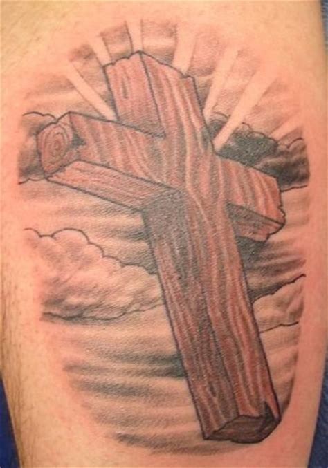 wooden cross tattoos grey ink wooden cross