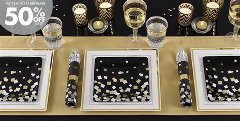 Black Gold Silver Decorations by Metallic Black Gold Silver Squares Supplies City