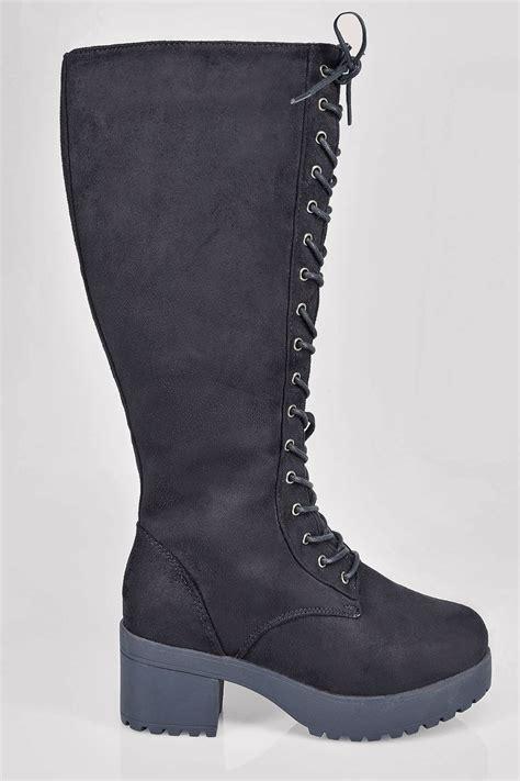 black knee high lace up heeled boot in eee fit 4eee 5eee